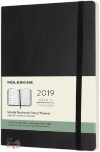 MOLESKINE, 12m weekly notebook large black soft cover 2019